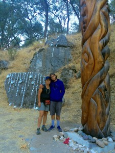 Caroline & Kagen next to the Healing Pole at Indian Canyon (photo: Greg Cotten)