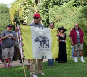 Alan Salazar, displaying the Tataviam Nation flag