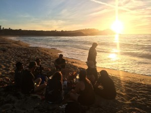 Walkers decompressing on the beach after leaving Carmel Mission